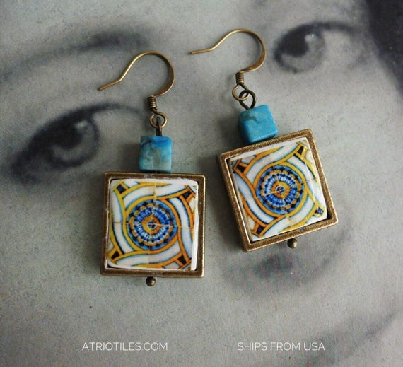 Earrings Portugal Tile Antique 17th Century Gold Blue Azulejo - Tomar - Convent of Christ built in 1160  - waterproof and reversible 345