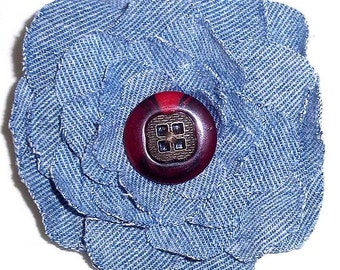 Upcycled Denim Shabby Chic Flower Pin With Tortoise Shell Button F-6
