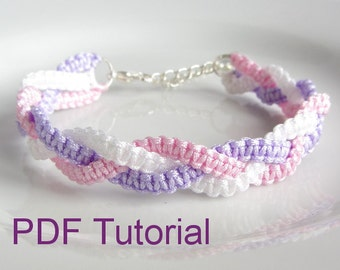 PDF Tutorial Braided Square Knot Macrame Bracelet Pattern, Instant Download Bracelet Tutorial, DIY Knotted Friendship Bracelet