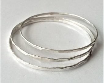 Sterling Silver Bangle Bracelet, Thin Hammered Bangle Bracelet,  Rustic Silver Bracelet, Minimalist Jewelry, Boho bracelet.