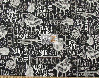 100% Cotton Fabric By Wilmington Prints - Play Your Song Instruments - Sold By The Yard (FH-3207) Clothing Decor Theme Accessories