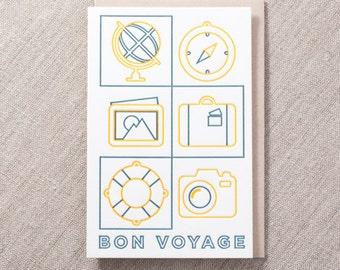 Bon Voyage Letterpress Greeting Card