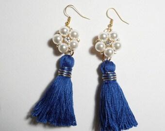 Navy Blue Tassel Earrings, Pearl Earrings