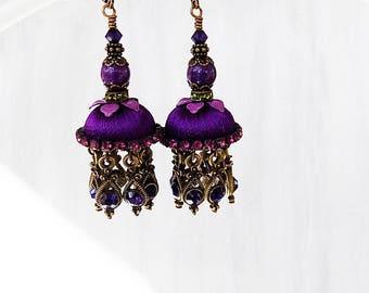 Purple Earrings, Jhumka Earrings, Purple Jhumka, Silk Jhumka earrings, tassel earrings, Jeweled tassel, Bellydance earring, Gift Woman, plum