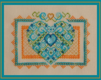 "Cross Stitch Heart ""Summer Fling"" Instant Download Pattern. Counted Embroidery Chart Romantic Valentine Ornamental X Stitch Design"