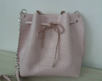 Sack bag with crocodile embossed in 2 colors