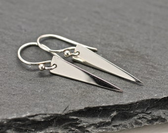 Spike Earrings Drop Earrings Sterling Silver Earrings Gold Triangle Earrings Dangle Earrings Pod Earrings Gift For Her Jewelry Under 50