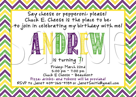 Items similar to Custom Printable Chuck E Cheese Inspired Birthday
