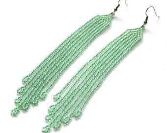 Mint green seed bead earrings Long beaded fringe earrings Modern summer earrings Women's fashion earrings Seed bead jewelry Long earrings