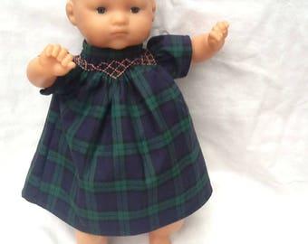 Green Plaid dress doll 36 cm