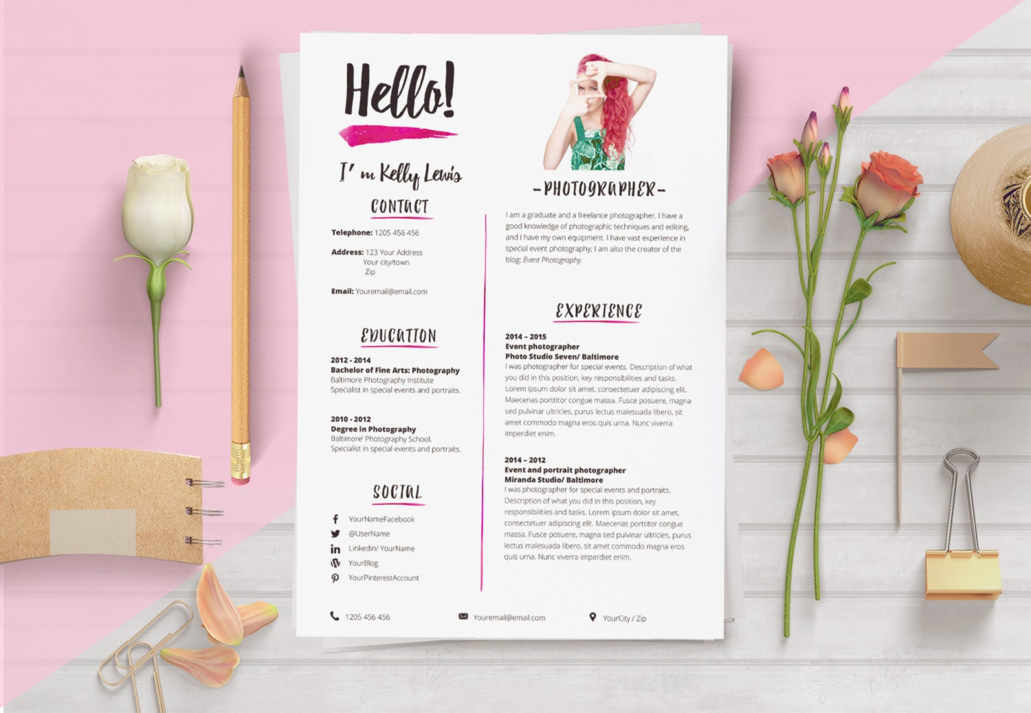 Elegant Résumé Template. 2 Pages Resume Cover Letter 1