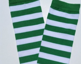 Christmas green and white legwarmers, striped legwarmers, baby girl legwarmers, baby legwarmers, legwarmers baby, baby boy leg warmers