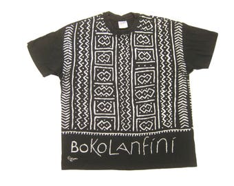 1992 Bokolanfini African All Over Print Tee Vintage Retro 1990s Black Short Sleeve Cotton Graphic T-Shirt Size XL