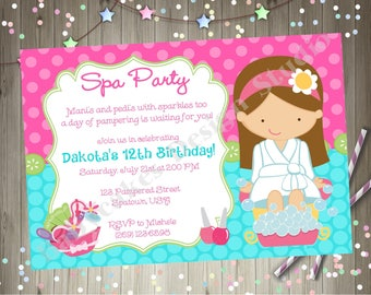 Spa Party Birthday Invitation Invite Spa Birthday Party Invitation Spa Party Invitation Printable CHOOSE YOUR GIRL