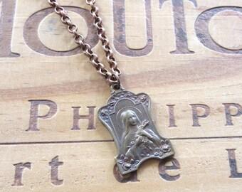 Brass Madonna Necklace