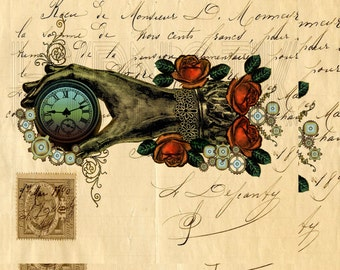 Steampunk Digital Print- Victorian Hand