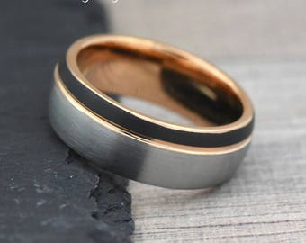 Tungsten Wedding Band Mens, Unique Engagement Ring Mens, Mens Engagement Ring, Mens Ring, Wedding Ring, Blue Inside/ Rose Gold Inside Band