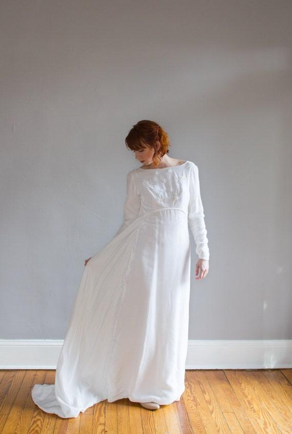 1960\'s Beaded Velvet Wedding Gown / Empire waist / Watteau