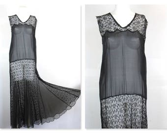 Vintage 1920s / 30s Flapper Gown / Dress, Black Lace, Gored Skirt, Art Deco Gatsby Chic, Sz M / Gatsby / New Years Eve