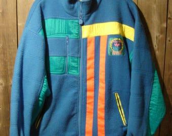 Vintage ADIDAS International Fleece Warm Up Jacket Neon Rave Era