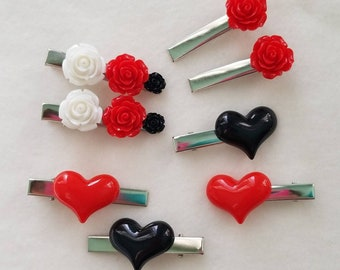 Queen of Hearts themed alligator clips from Alice in Wonderland