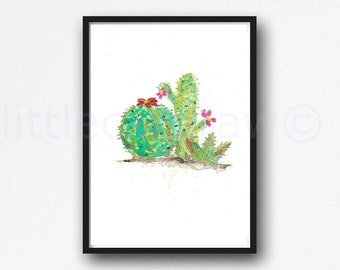 Cactus Print Cacti Watercolor Painting Cactus Art Print Watercolor Print Nature Watercolour Wall Art Living Room Wall Decor Art Print