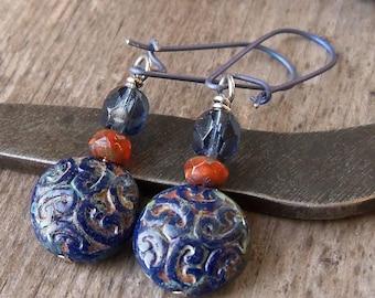 Hypoallergenic - Titanium Earrings - Beaded Earrings - Blue Earrings - Dangle Earrings - Navy Blue Earrings - Gift For Her - Gift Idea