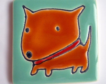 2.5 Square Silly brown Dog