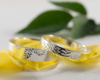 White Gold Ash Wedding Bands: A Set of his and hers 18k White Gold wedding rings