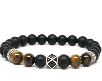 Matt Black Onyx and Tigers Eye Beaded Mens Bracelet