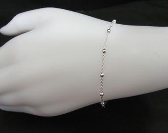 Silver Bead Bracelet, silver layering Bracelet,  sterling silver bead bracelet, simple bracelet, dainty bracelet, Silver dainty  bracelet