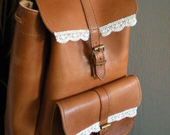 Brown Leather Backpack, Tobacco Backpack, Brown Rucksack, School Backpack, Bicycle Brown Backpack, Ipad Bag, Old School Backpack, Lace Bag