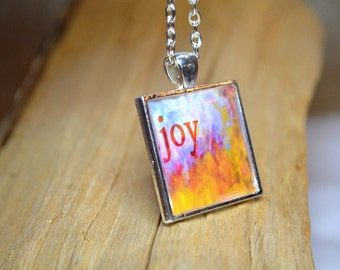 JOY Necklace Word Art Pendant Inspirational Jewelry Word Necklace Quote Jewellery word jewellery resin jewelry