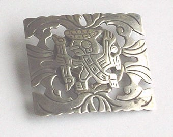 Sterling Silver Brooch Vintage 1950s Inca Peruvian Hunter Warrior Prince Large 925 Marked Old Cuzco Silver Brooch Mid Century