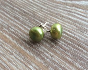 Pearl stud earrings 8mm, Green Freshwater Pearls and 925 Sterling Silver UK made