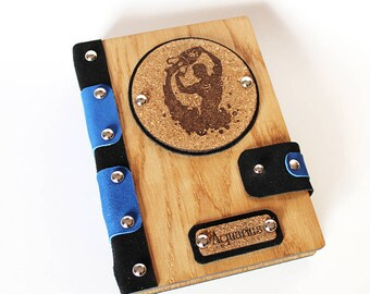 Exclusive Birthday Gift for a husband or friend blue Wooden leather notepad handmade with old pages of oak with a zodiac sign Aquarius