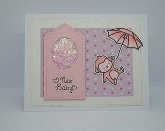 New Baby Girl card, Handmade Baby Girl card, Pink Monkey card, It's a Girl card, Monkey Parasol card, Pink Glitter Tag, Polka Dot card
