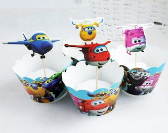 Hot Super Wings Mini Plane Wrapping Paper Cups Insert Set 12 pcs Toppers +12 pcs Wrappers Birthday Party Layout Decoration