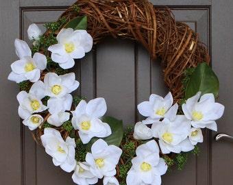 SALE!! Artificial Floral Wreath, Spring Wreath, Door Wreath, Wedding Wreath, Magnolia Wreath, Decor Wreath, Front Door Wreath