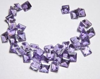 40 Pcs Lot Very Attractive Natural Pruple Amethyst Faceted Square Shape Loose Gemstone Beads Size 6 MM