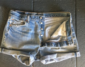 Distressed LEVIS Cutoff Denim Shorts / Five Button Fly Levis Jean Shorts / Festival Shorts / Levis 501 / Vintage Levis