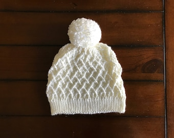 Crocheted Diamond Slouchy Hat - Newborn to Adult