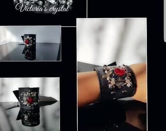 Handmade real leather bracelet from svarovski