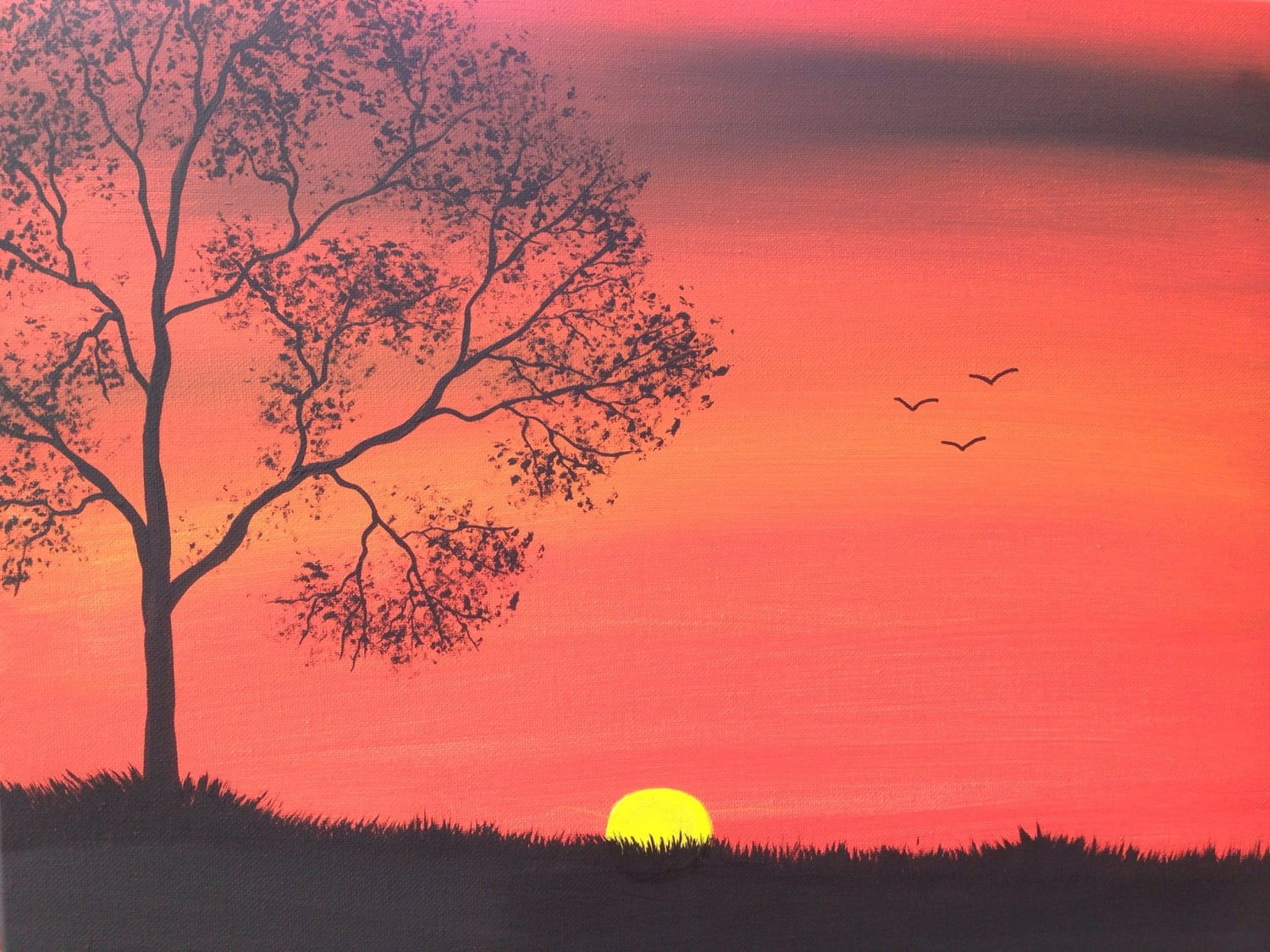 Sale1 2 OffFall Sunset Tree Painting 16x20x75