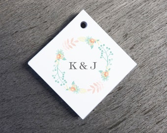 Floral Wedding Favor Tags Watercolor Wedding Tags Die-cut Paper Hang Tags Custom Gift Tags wedding decoration Square Gift Tags Welcome Tags