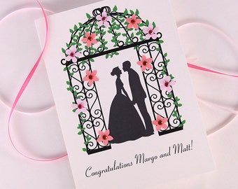 wedding congrats - Wedding day card - shabby chic wedding - happy couple card, mr and mrs cards, bride and groom card - personalized wedding