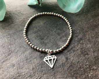Diamond stretch bracelet, ladies bracelet, diamond charm, gift