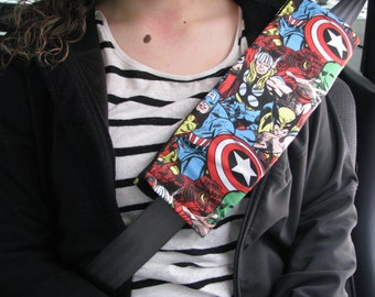 Marvel Comic Seatbelt Cover, Car Accessorie, geekery, hulk, spiderman, iron man, wolverine, captain America, Avengers