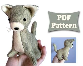 Felt Cat, Cat Pattern, Felt Pattern, Soft Cat Pattern, Felt Doll Pattern, Felt Animal Patterns, Soft Felt Toy Pattern, PDF sewing patterns