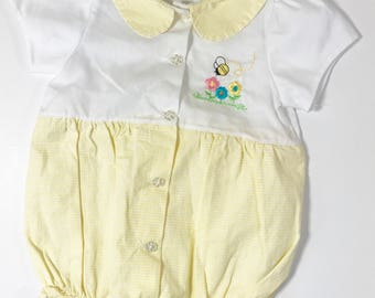 Yellow Bumble Bee Baby Romper, 6 Months